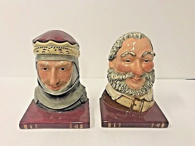 Royal Doulton Character Jug Henry V and Falstaff Bookends D7088 D7089