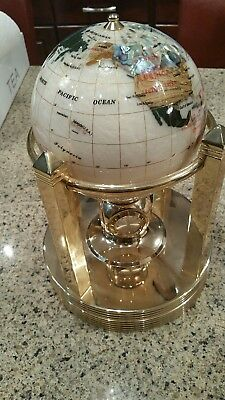 Alexander Kalifano Rotating Clock Smooth Mother of Pearl Gemstone Globe