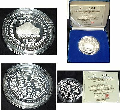 COA INCLUDED MINTAGE 1500.Nepal SHAH DYNASTY 100 Rupee .SILVER PROOF