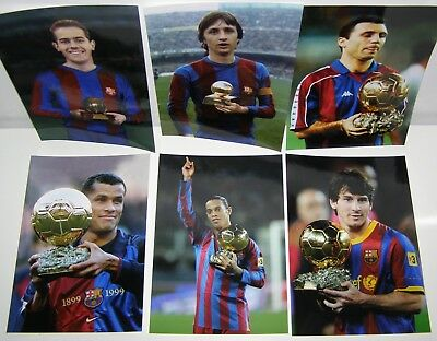 6 Barcelona Photos Suarez Cruyff Stoichkov Rivaldo Ronaldinho Messi Golden Ball