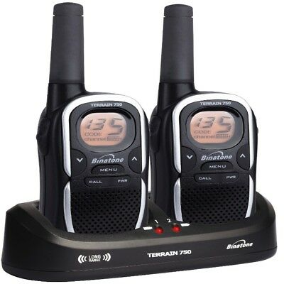 Binatone Terrain 750 Twin 2-Way Radio Walkie Talkies Black 968 Channel 8Km Range