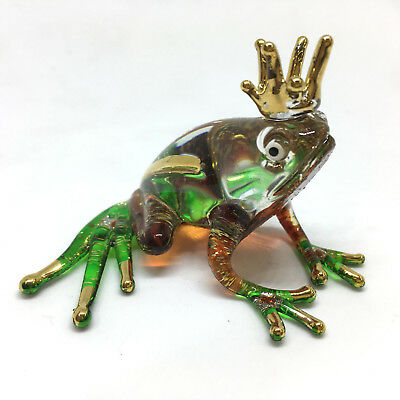 New Miniature Glass Frog Figurine Hand Blown Art Toad Frogs Murano Vintage Style
