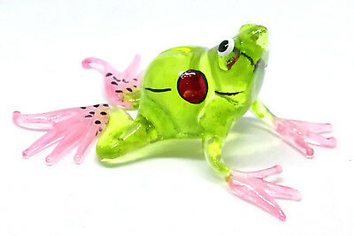 New MINIATURE HAND BLOWN Art GLASS Green Frog FIGURINE Statue Small Toad