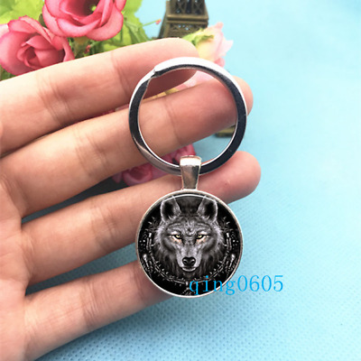 MIDNIGHT WOLF GOTH GOTHIC BLACK WATCHER KEYRING KEY RING CHAIN gift new packet