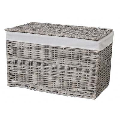 Grey Wash Wicker Storage Trunk Basket Chest Blanket Toys Shoes Linen Willow