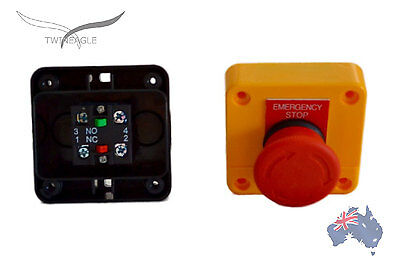 x 2 Emergency Stop switch control, electrical 12V 24V E stop