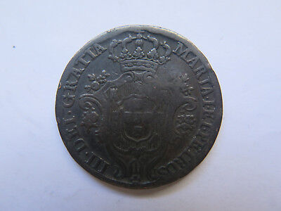 c1800s PORTUGAL COPPER 10 REIS COIN ??? in REASONABLE COLLECTABLE CONDITION