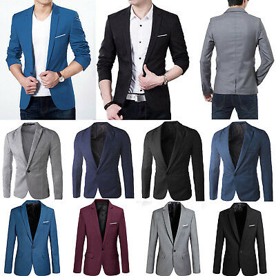 Stylish Men's Casual Slim Luxury Formal One Button Suit Blazer Coat Jacket Tops