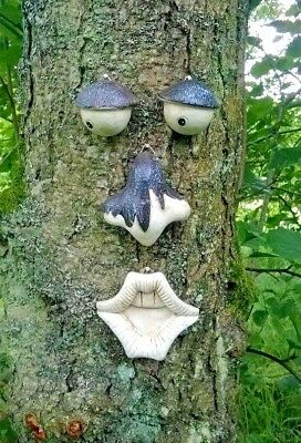 Tree Face Novelty Garden Ornament Decoration Funny Wall Fence Shed Face