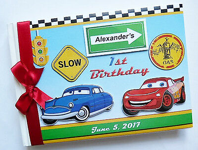 Personalised Disney Pixar Cars Boys First/1St Birthday Guest Book - Any Design