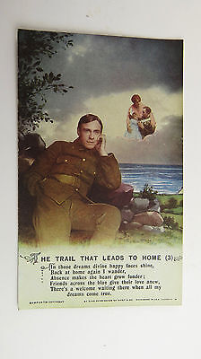 WW1 Great War Vintage 1917 Song Postcard Message To Soldier Tommy Western Front