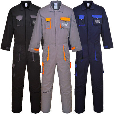 Portwest Texo Contrast Coverall Knee Pad Pockets Boilersuit Work Wear TX15