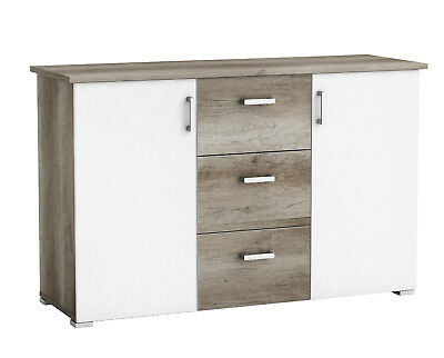Aparador o mueble auxiliar salon color roble y blanco brillo 78x124x42 cm