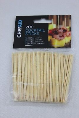 New Chef Aid Wooden Party Cocktail Sticks 8cm Pk 200 10E61120