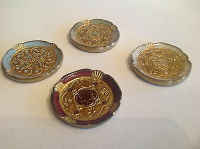 Original Italian Florentine 4 Coasters Hand Made Gold Leaf Marked