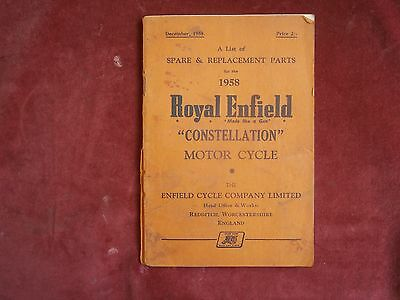 A list of spare and replacement parts Royal Enfield constellation motor cycle 19