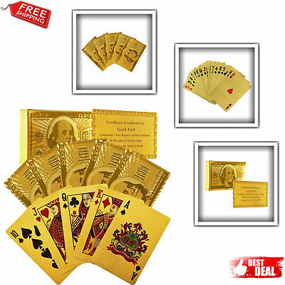 Waterproof Luxury 24K Gold Plated Foil Playing Cards Poker Deck Design New Gift