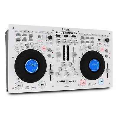 Pro Double Lecteur Cd Dj Mixage Home Studio Mix Workstation Scratch Usb Sd Blanc