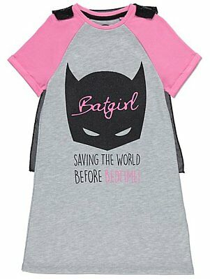 Girls DC Comics Batgirl Nightshirt Detachable cape Nightdress Cape Mask Pyjamas