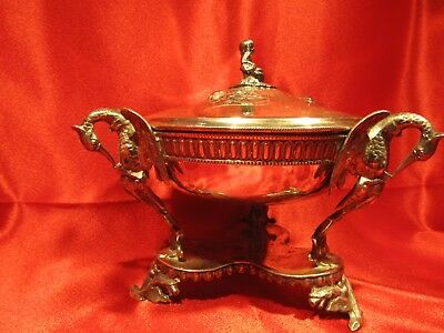Antique Silver Plated Ornate 4-Piece Chafing Dish With Feet