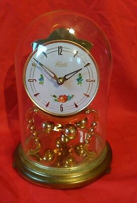 KUNDO Westminster chimes Anniversary glass dome clock. Germany. Working order.