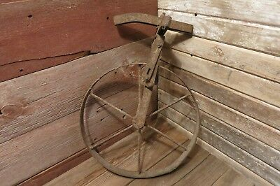 RARE Old Antique Wagon Wheel Barrow Vintage Metal Cast Iron - Farm Industrial!