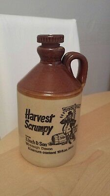 Vintage Harvest Scrumpy Cider Jug Stoneware Bottle Devon with screw top