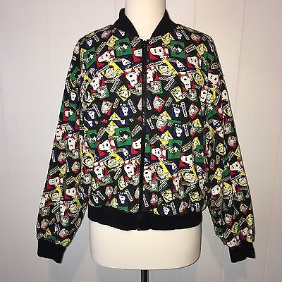 Vintage Peanuts By Design Snoopy And Friends Bomber Jacket Charlie Brown L USA