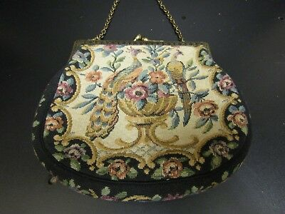Vintage Needlepoint Clutch Evening Bag Peacocks Design With Original Mirror 20s?