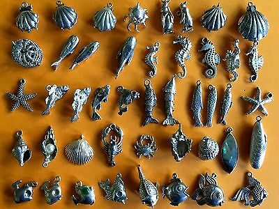 Vintage sterling silver charms FISHES SHELLS PISCES Whale Seahorse Mermaid