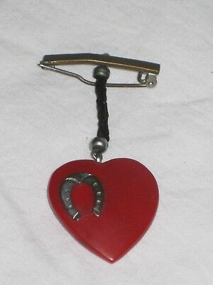Vintage WWII Sweetheart Pin with Heart and Horseshoe