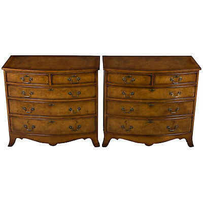 New Antique Style Matching Pair of Bow Front Chest of Drawers Bedroom Dressers