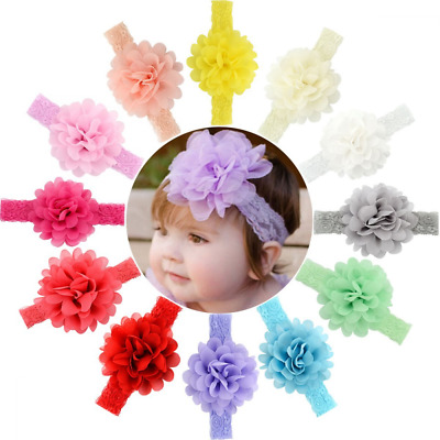 12pcs Baby Girls Headbands Chiffon Flower Lace Band for Newborns infants toddler