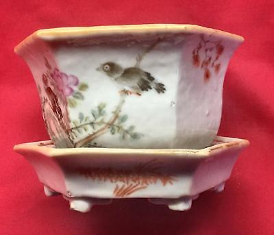 Antique Chinese Porcelain Narcissus Planter Jardiniere And Undertray