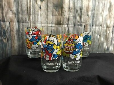 Lot of 3- 1982 Smurf Glasses Smurfette/Brainy/Baker Wallace Berrie and Co.