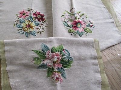 Floral Vintage Completed Wool Needlepoint CHAIR STOOL COVERS LOT OF 3 EXCELLENT