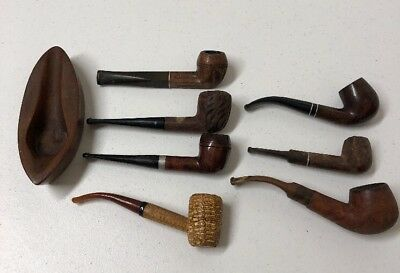Lot Of 7 Vintage Estate Tobacco Smoking Pipes And 1 Pipe Rest