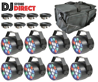 8X QTX B12P Rechargeable RGBW LED PAR CAN DJ Uplight + Remote + 8X 3M DMX + Bag