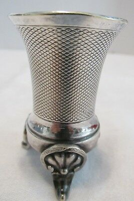 """Vintage Christofle France TOOTHPICK Holder Scroll Feet Mesh Cup 2.5"""" Silverplate"""