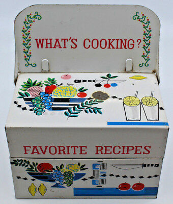 What's Cooking Favorite Recipes Vintage Tin Box with flip up holder Made Japan