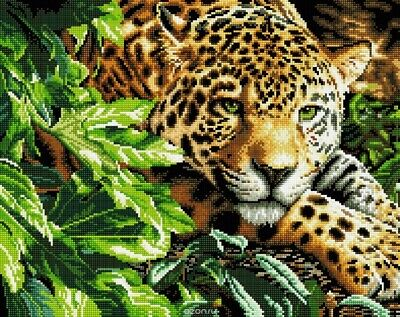 "DIMENSIONS GOLD ""LEOPARD IN REPOSE""CROSS STITCH  Kreuzstich-Stickpackung 40x28"