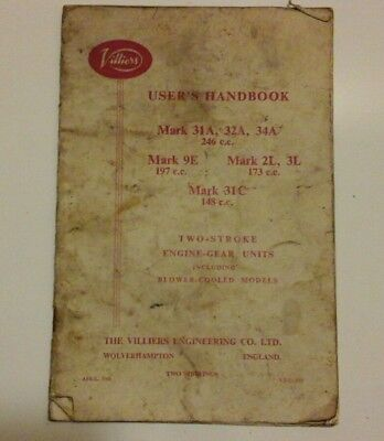 Villiers users manual 2 stroke 1961 used