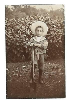 Boy with Spade. R/P. Gardening. Tommy Bourne Aged 6, June 1908.
