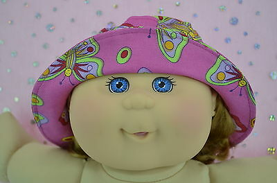 "Play n Wear Doll Clothes For 14"" Cabbage Patch PINK/BUTTERFLY DRILL SUN HAT"