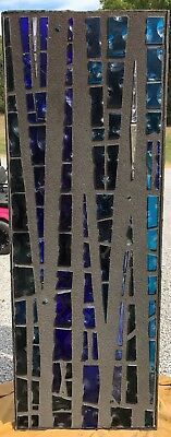LG3 Vintage Faceted Stained Glass Church Window Religious House Blue Amber