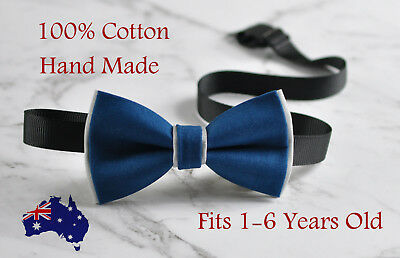 Boy Kids Baby Cotton Petrol Blue Grey Bow Tie Bowtie Party Wedding 1-6 Years Old