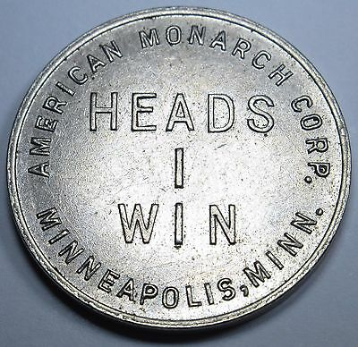 Heads I Win Tails You Lose Minneapolis Monarch Corp Antique Merchant Token Coin