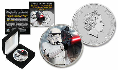 2018 NZM Niue 1 oz Pure Silver BU Star Wars STORMTROOPER Coin with DARTH VADER