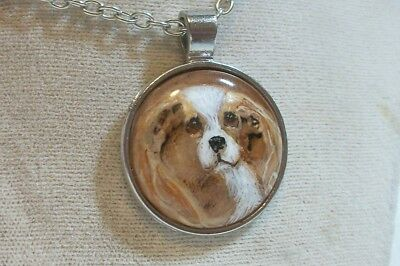 Hand Painted Cavalier King Charles Spaniel Necklace Pendant Blenheim