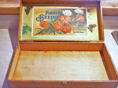 Vintage D. M. FERRY & Co's. FLOWER SEEDS Wooden Hinged Advertising Box Painted